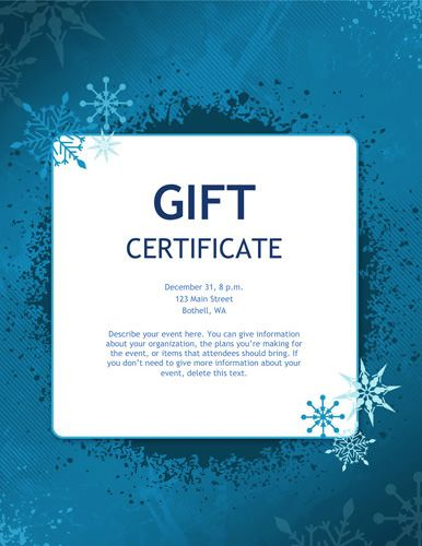 Blue snowflakes Christmas gift certificate Holiday Food and - christmas certificates templates for word