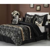 Details about NEW 7-PC BLACK GREY GOLD SILVER FLORAL ...