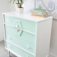 Painted in mint green and white with decoupage patterned ...