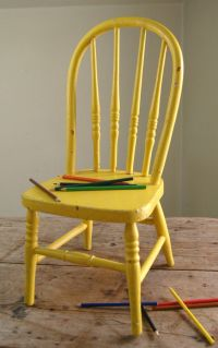 Vintage Bentwood Childs Chair - Old Chippy Yellow Paint ...