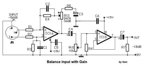 gain and volume adjustment for balance input
