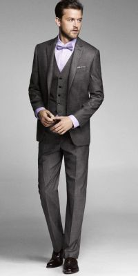 Grey Suit - classic ~ 3 piece suit with bow tie, he might ...