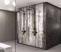 Iced Antique White Barn wood Shower panel - Badkamers ...