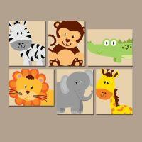 JUNGLE Animal Wall Art, Canvas or Prints, Boy Girl Nursery ...