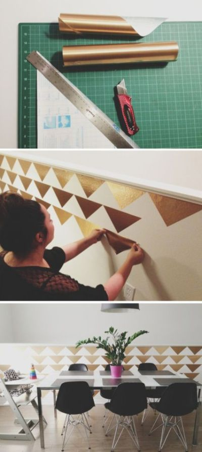 DIY Triangle Accent Wall for Less than $3 MountainModernLife.com | Gold wallpaper, Triangle ...