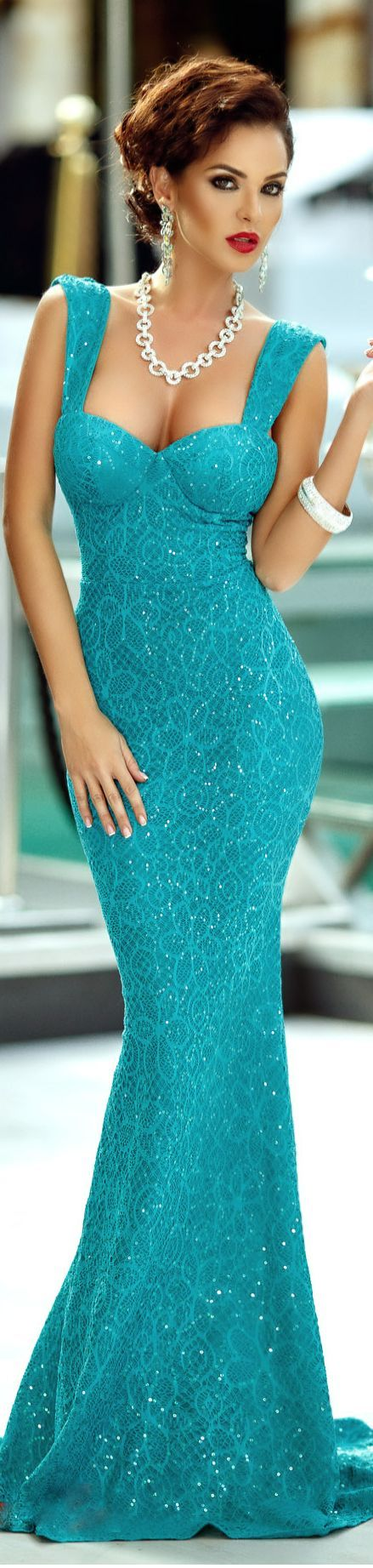dress with sequined lace turquoise: