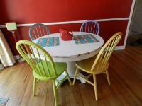colorful, painted chairs, multicolored chairs, kitchen ...