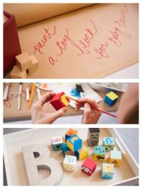 Such a cute idea! Have guests paint baby blocks at a baby ...
