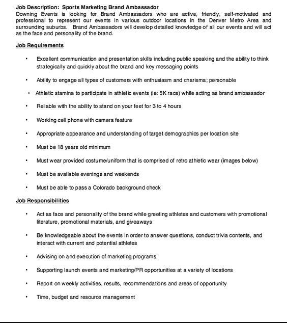 resume description of brand ambassadors