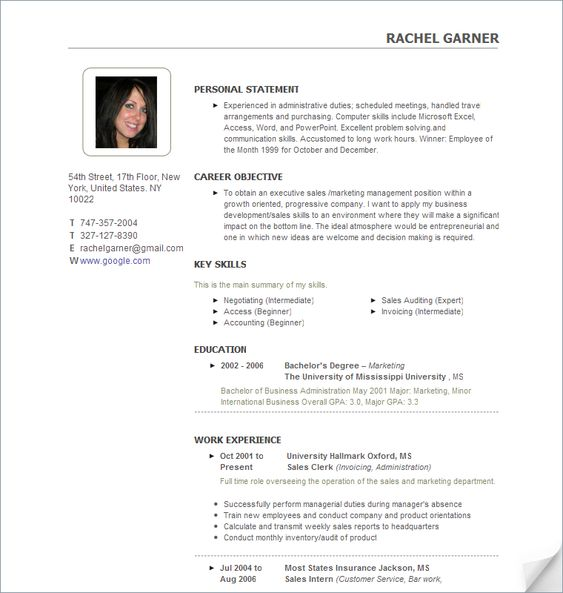 Pic, Personal Statement, Career Objective, Key Skills, Education