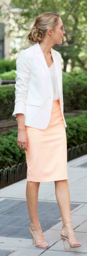 white blazer, silk spaghetti strap camisole, pastel orange coral pencil skirt, nude ankle strap heeled sandals {summer work wear style, colorful skirt suit, elizabeth and james, rag & bone, steve madden, club monaco}: