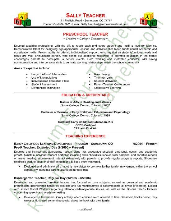 Sample Teacher Resumes Best Sample Resume Teacher Resume Template Student And Teaching On Pinterest