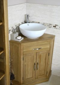 corner bathroom vanity | Oak and Ceramic Corner Bathroom ...