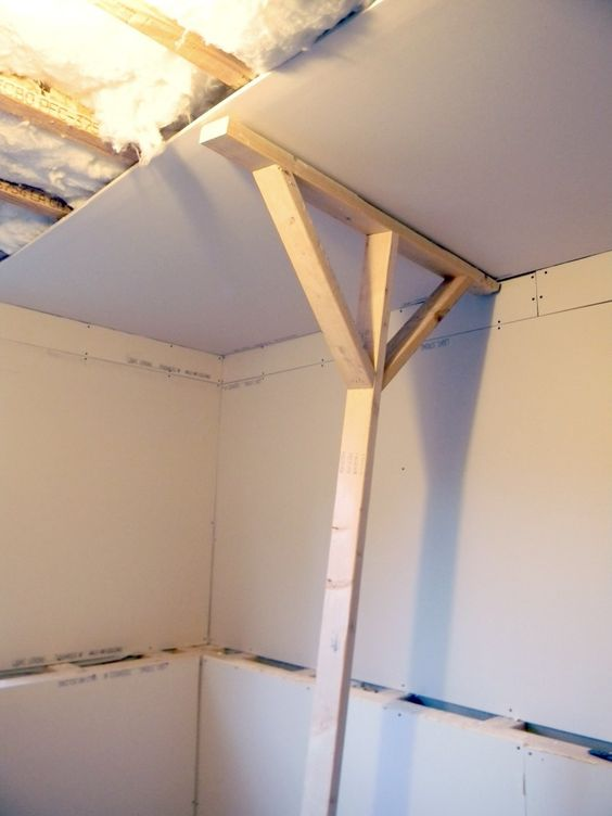 Holding Up Sheet Rock For Finishing A Ceiling   Diy Home Projects