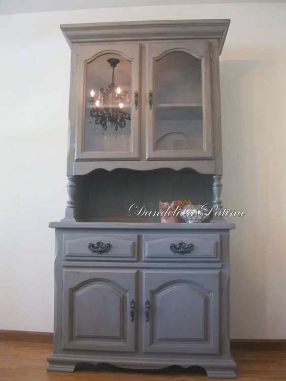 Two Piece Hutch. Painted In Cece Caldwell Pittsburgh Gray And