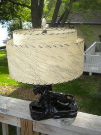 Exc Vintage 1950's Black PANTHER TV LAMP Planter Light 2 ...