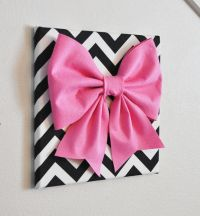 Pink bows, Chevron and Canvas walls on Pinterest