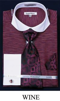 Rich Wine colored shirt, with matching Tie, Handkerchief ...