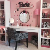 IKEA bookcases and a desk .Make up station for a teen ...