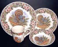 16 Pc Thanksgiving Turkey Dinnerware Set Queen's Myott by ...