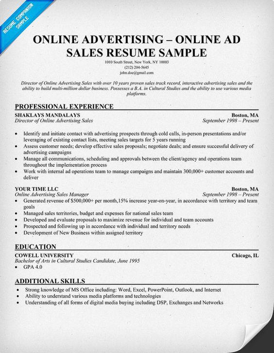 advertising sales resume sample node2002-cvresumepaasprovider