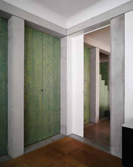 Kgdvs / Villa Schor, Green Stained Plywood, Concrete, Loosian Look