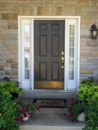 Front door and light painted Sherwin Williams Urbane