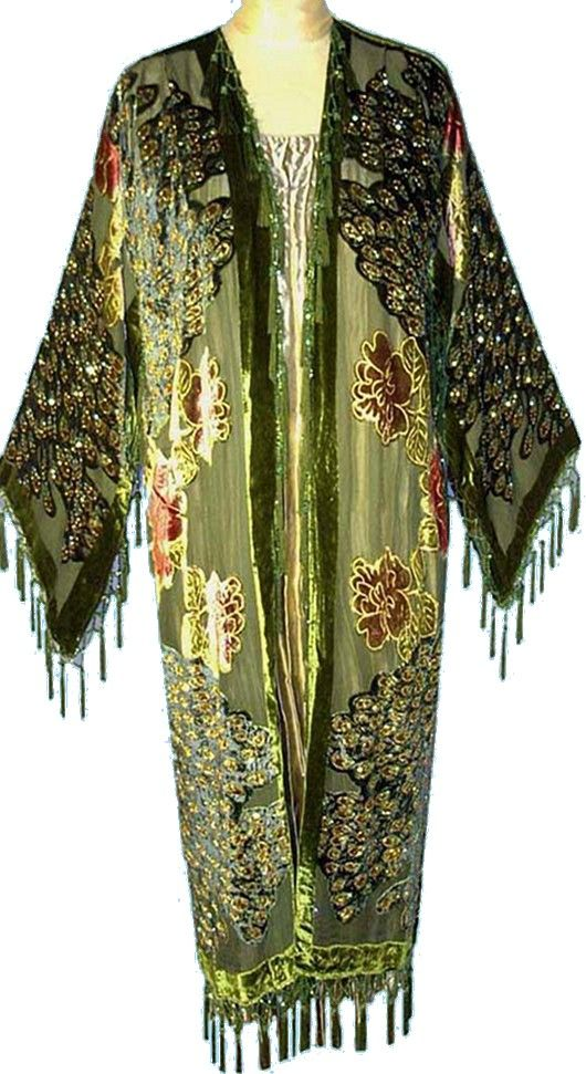 Art Deco Style Jackets 1930's Style Art Deco Silk Velvet Scarf Coat - Forest