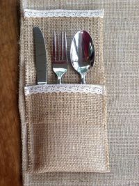 Burlap & lace utensil holders with burlap & lace placemats ...