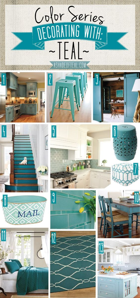 Color Series; Decorating With Teal | Paint Colors, Paint Palettes