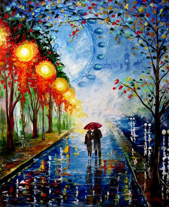 Anime Girl Umbrella City Sky Pink Wallpaper Couple Originals And Walking On Pinterest