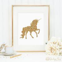 Unicorn print, printable wall art decor, gold glitter ...