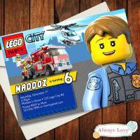 Custom LEGO CITY- Police - Firemen Birthday Invitation ...