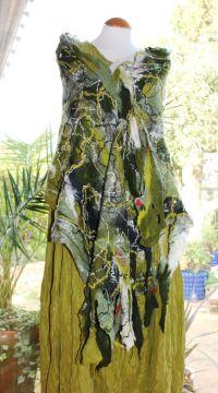 Green Wool Shawl - felted merino wool shawl wrap scarf ...