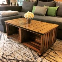 Our DIY wood crate coffee table! How we did it: We used 4 ...