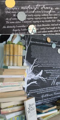 """book inspired Halloween mantle decor & """"The Raven"""" free ..."""