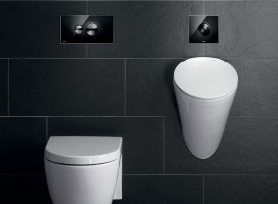 Stijlvolle Zwarte Design Bedieningsplaat Voor Wc En Urinoir Viega Visign For Style Toiletten - Wc Luxe