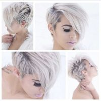 Snow white hair color and adorable short haircut and ...