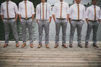 Gray slacks & skinny ties groomsmen