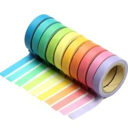 Review: Washi Tape Set 10x Decorative Washi Rainbow Sticky Paper Masking Adhesive Tape Scrapbooking DIY by DPIST | Paulette's Papers: