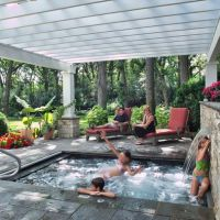 Pergolas, Small backyard design and Hot tubs on Pinterest