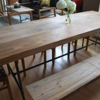 dining table bench - long and narrow with benches pushed ...