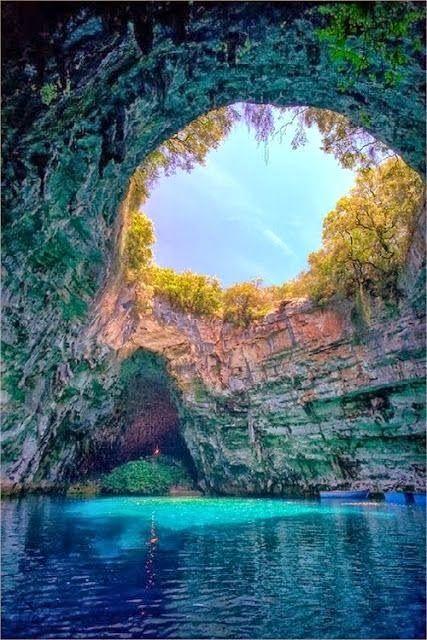 THE AMAZING WORLD: Melissani Cave, Kefalonia, Greece: