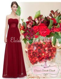 CRANBERRY Red Claret Chiffon Bridesmaid Maxi Long Evening ...