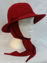 Details about Womens Orvis Fedora Hat with Attached Scarf