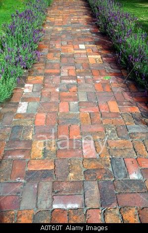Brick Path - Different Colors And Crosshatch Pattern   Gardening