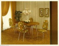 1970`S Vintage Old Photo Floral Dining Room Table Chairs