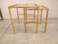 Vintage Mid Century Metal Gold Gilt Faux Bamboo Stack ...