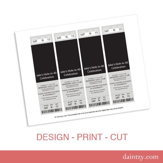 Event Ticket Photo Invitation Template Printable - Diy Make Your