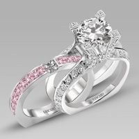 White and Pink Cubic Zirconia 925 Sterling Silver White ...